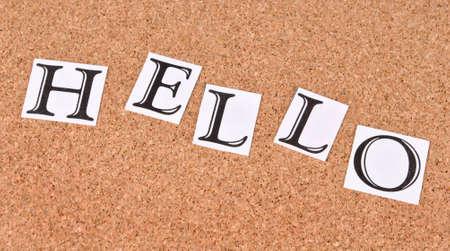 Hello -text on cork-board Stock Photo - 15560922