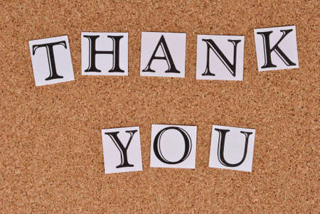 annoucement: Thank You on cork-board