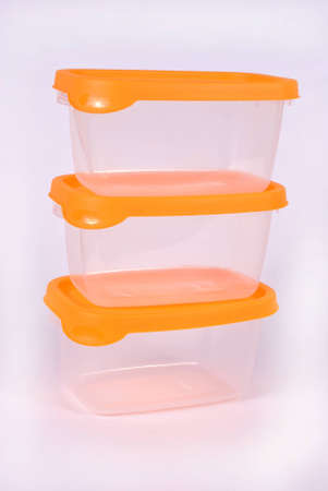 Storage plastic containers on white photo