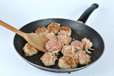 Meatballs on the frying pan Stock Photo - 15880260