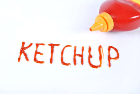 tomato catsup: Ketchup conception on white background