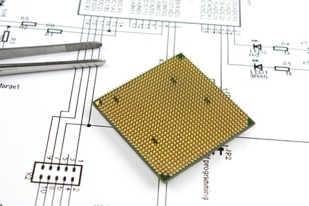 electronic scheme: microprocessor and electronic scheme