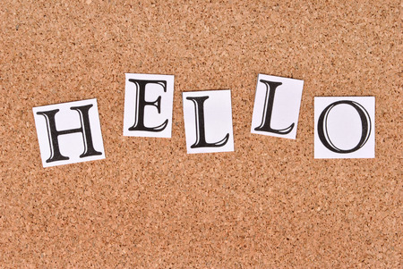annoucement: Hello text on cork board