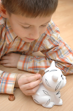 money box: child save coins to money box