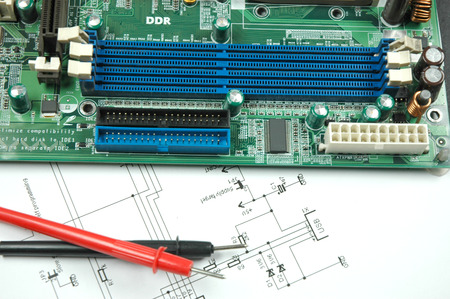 sockets on printed circuit board and electronic scheme