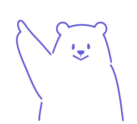 the polar bear is pointing upper like teaching the direction