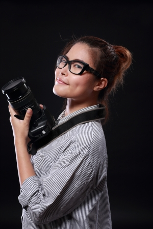 Glasses Girl with Camera Stock Photo - 19083197