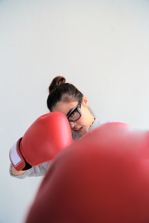 Glasses Girl with Boxing Glove photo