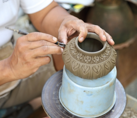 Landgenoot Maak Thaise Patroon op Pottery
