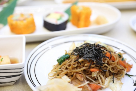 Hot Stir-Fried Noodles in Japanese Food photo