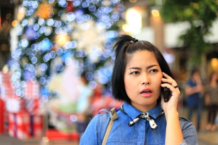 Girl Calling Her Boyfriend in Christmas Day photo