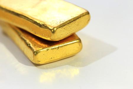 deposit slip: Shiny Gold Bar on White Background Stock Photo
