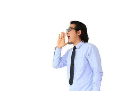 making an announcement: The asian man making announcement. Stock Photo