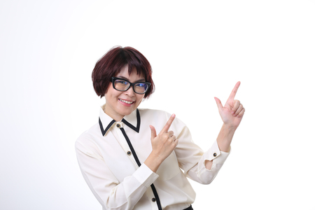 womna: The Asian businesswoman pointing.