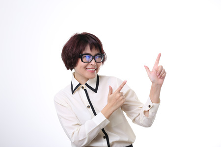 The Asian businesswoman pointing.