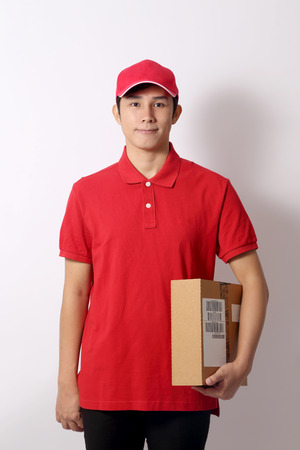 The Asian postman on the white background.
