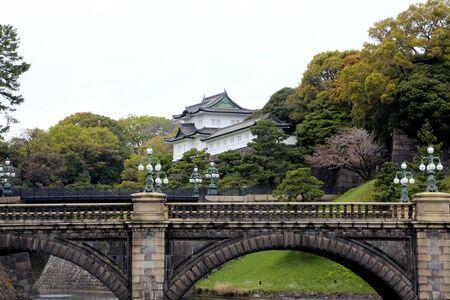 Tokyo, Japan - April 12, 2019: Seimon Ishibashi stone bridge of main gate, Doubled bridge at Tokyo Imperial Palace