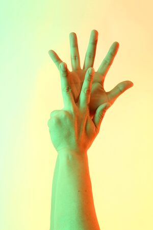 The Human hands posing on the white background. Archivio Fotografico - 132032469