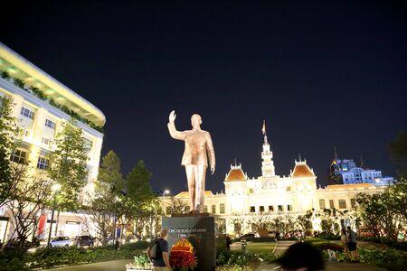 Ho Chi Minh City, Vietnam - December 20, 2019: Ho Chi Minh Statue standing in front of Hotel de Ville, located in Saigon, Ho Chi Minh city, Vietnam Editoriali