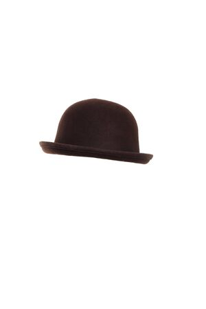 The brown bowler hat on the white background. Stock Photo