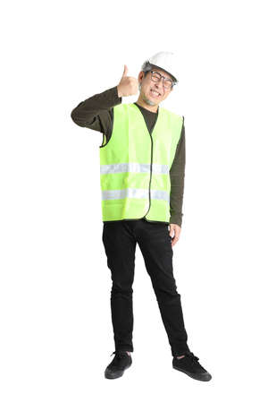 The senior asian man in labor uniform on the white background.