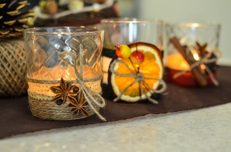 Handmade candle decor. Candle in glass jar, pine boughs, epsom salt, twine