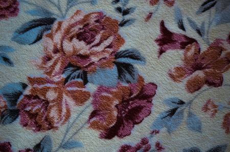 fragmented: Fragment of colorful retro textile pattern with floral ornament useful as background Stock Photo