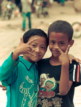 Kathmandu Nepal - 2011 : Boys on the streets of the city Editorial