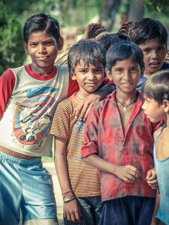 Amroha, Uttar Pradesh, INDIA - 2011: Indian children of slams smilimg boys Editorial