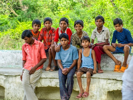 developing country: Amroha, Uttar Pradesh, INDIA - 2011: Indian children of slams smilimg boys Editorial
