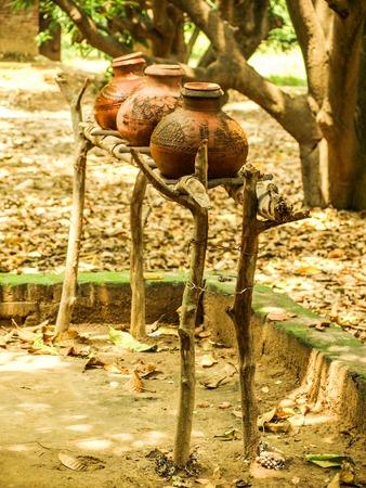 Handmade vases from clay outside in Amroha, Uttar Pradesh, India