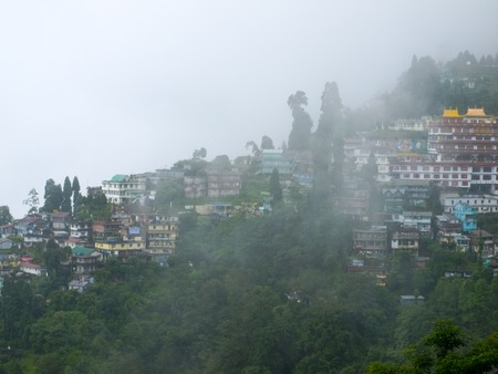 darjeeling: View of Darjeeling town in fog, India