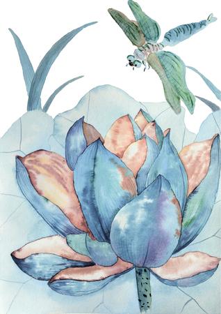 Original watercolor painting of blue lotus and dragonfly Foto de archivo
