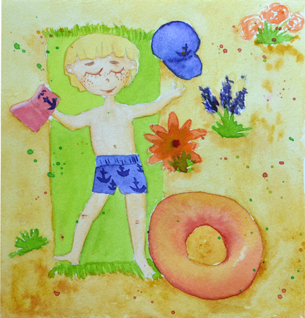 Original watercolor painting of a boy lying on beach
