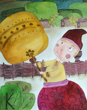 Child fairy tale watercolor character Kotyhoroshko with mace