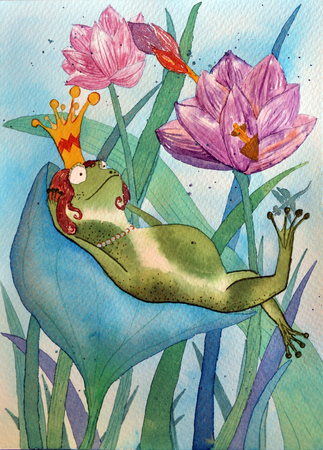 Frog in crown. Hand watercolor drawing illustration of Queen frog in lotuses Stock Photo