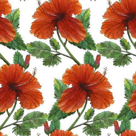 Watercolor original painting of red hibiscus seamless pattern Reklamní fotografie