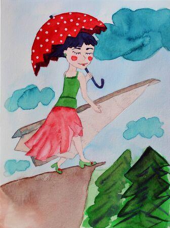 Happy girl with umbrella - watercolor