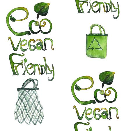 Seamless pattern with letters hand drawn hrase: eco vegan friendly with shopping bags. Texture for textile, wrapping paper, etc.