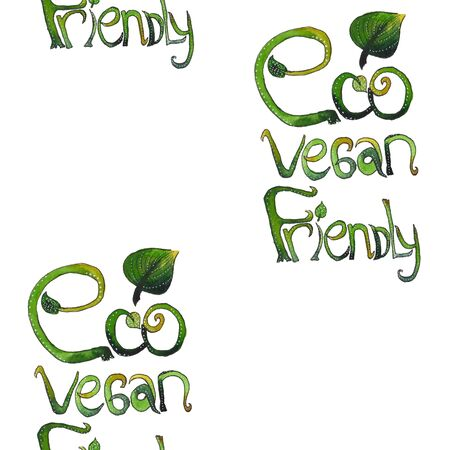 Seamless pattern with letters hand drawn hrase: eco vegan friendly. Texture for textile, wrapping paper, etc. .