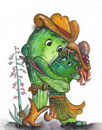 Cactus hug  drawing. Cute cartoon cactus couple in love, funny Valentines day illustration. Фото со стока