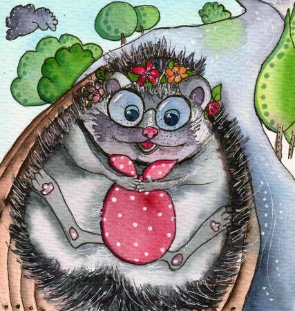 hedgehog with the bag in a boat on a river. a child's drawing, traveling. Childrenwatercolor sketch. It fits on a postcard, print T-shirt Фото со стока