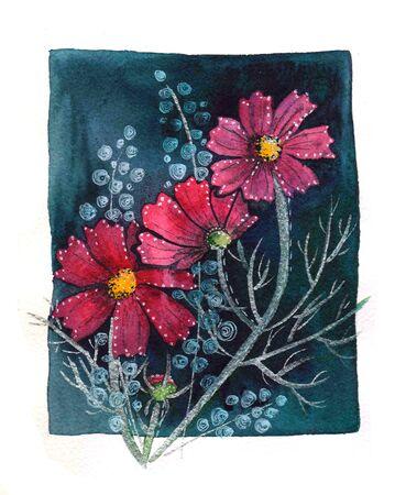 Cosmos Flowers Arrangement with Petals Background Design. Floral design on dark background