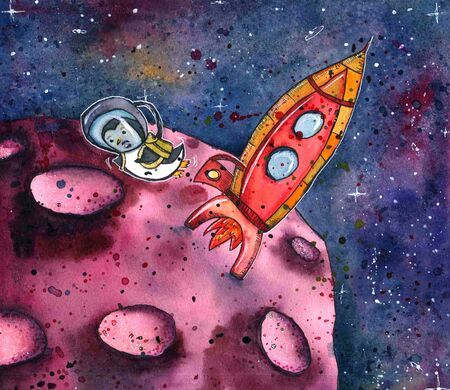 A cartoon penguin in an astronaut's space suit. Character in space with the rocket. watercolor illustration