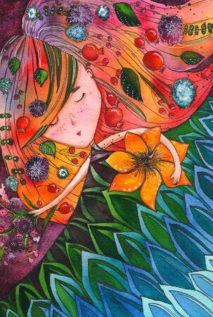 Beautiful woman and flowers . watercolor illustration Фото со стока