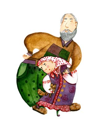 Watercolor illustration with bright dancing grandmother and grandfather on a white background