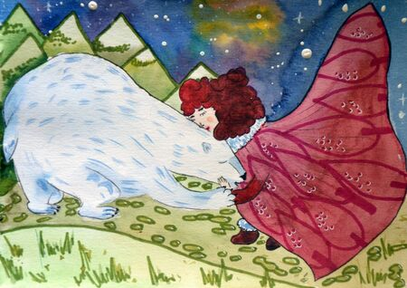 digital painting of girl hugging white bear in winter outdoor, watercolor on paper texture