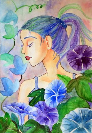 Illustration of a beautiful, romantic girl and flowers Фото со стока