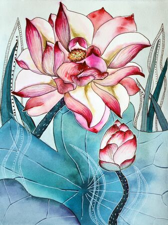 Original watercolor painting of aquatic plants of lotus