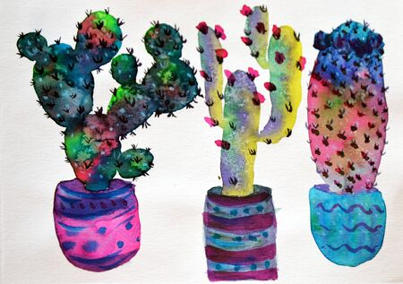 Watercolor hand-drawn illustration with cactus and succulents. Green house plants illustrations. Cute pots for plants. Фото со стока